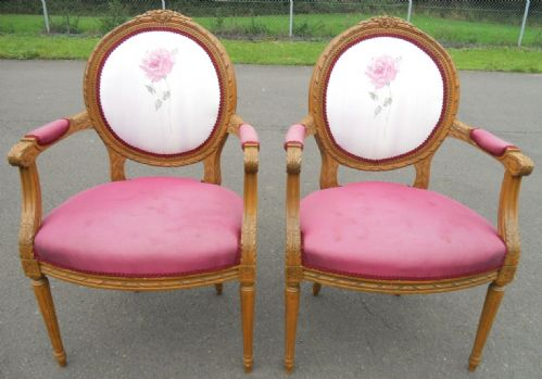 Pair Carved Walnut Upholstered Salon Armchairs